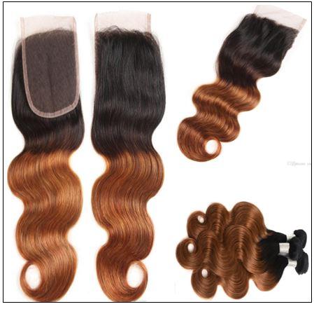1B 30 Brown Color Brazilian Body Wave With Closure Full Head Evan Hair Ombre Body Hair Bundles Closure 3-min