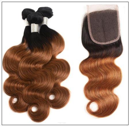 1B 30 Brown Color Brazilian Body Wave With Closure Full Head Evan Hair Ombre Body Hair Bundles Closure 4-min