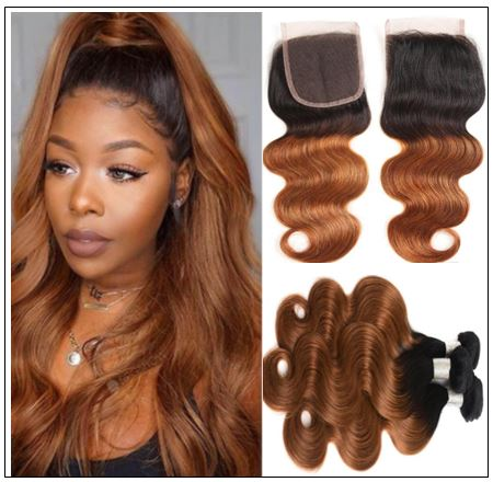 1B 30 Brown Color Brazilian Body Wave With Closure Full Head Evan Hair Ombre Body Hair Bundles Closure img-min