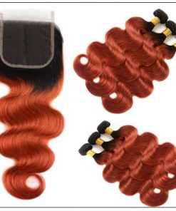 1B 350 Color Ombre Human Hair 3 Bundles With Closure Body Wave Weave 2-min
