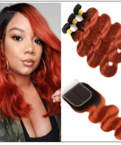 1B 350 Color Ombre Human Hair 3 Bundles With Closure Body Wave Weave img-min