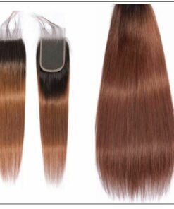 2 Tone Ombre Brown Brazilian Human Hair 3 Bundles With Closure 3-min