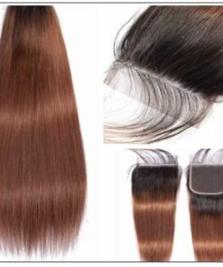 2 Tone Ombre Brown Brazilian Human Hair 3 Bundles With Closure 4-min