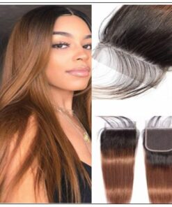 2 Tone Ombre Brown Brazilian Human Hair 3 Bundles With Closure img-min