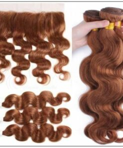 Brazilian Human Hair Body Wave Color Weave Bundles and Frontal #30 2img-min