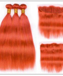 Brazilian Human Hair Orange Color 3 Bundles with Frontal 2-min