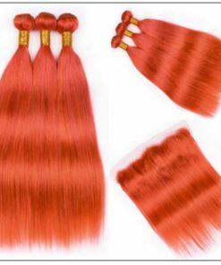 Brazilian Human Hair Orange Color 3 Bundles with Frontal 3-min
