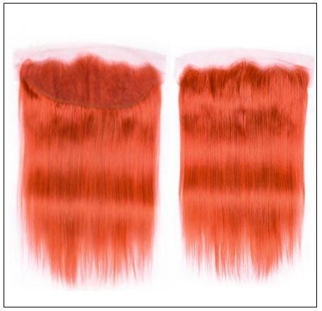Brazilian Human Hair Orange Color 3 Bundles with Frontal 4-min