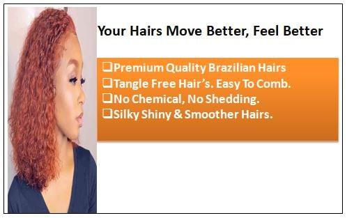 Brazilian Kinky Curly Orange Remy Human hair bundles 1-min