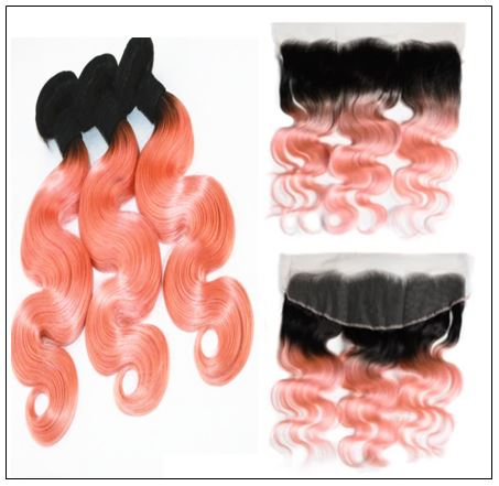 Brazilian Rose Gold Pink Ombre Body Wave Hair Bundles Lace Frontal 2