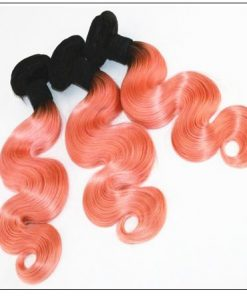 Brazilian Rose Gold Pink Ombre Body Wave Hair Bundles Lace Frontal 3