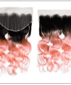 Brazilian Rose Gold Pink Ombre Body Wave Hair Bundles Lace Frontal 4