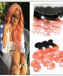 Brazilian Rose Gold Pink Ombre Body Wave Hair Bundles Lace Frontal img