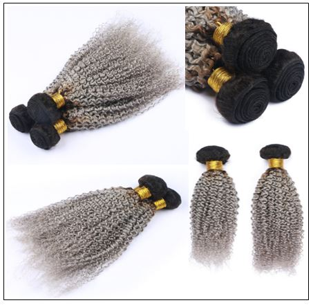 Kinky curly weave hair bundles ombre colour black and silver grey 4-min