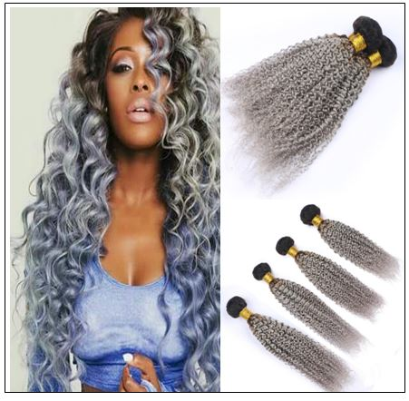 Kinky curly weave hair bundles ombre colour black and silver grey img-min