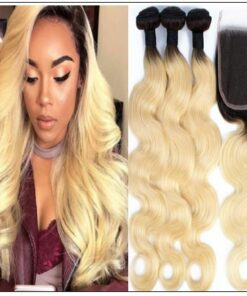 Lace Closure With 3 Bundles Body Wave 1B 613 Color img-min