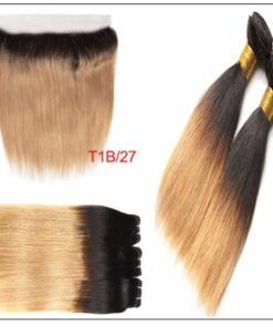 Ombre Color Bundles With Frontal 1B Root 27 Straight Hair 2-min