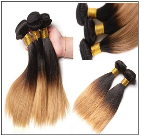 Ombre Color Bundles With Frontal 1B Root 27 Straight Hair 4-min