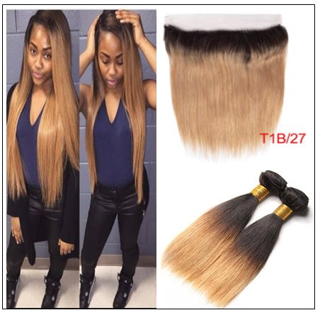 Ombre Color Bundles With Frontal 1B Root 27 Straight Hair img-min
