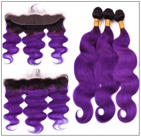 Ombre Hair Color 1B Purple Body Wave 3 Bundles With Closure 2-min
