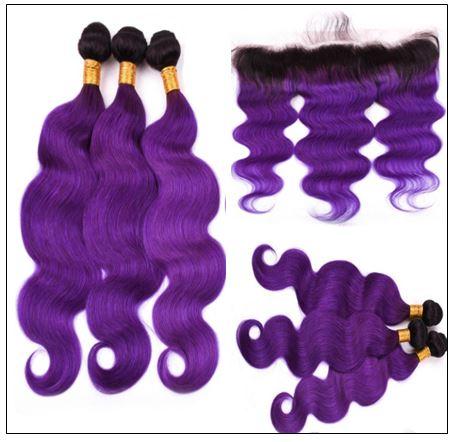 Ombre Hair Color 1B Purple Body Wave 3 Bundles With Closure 3-min