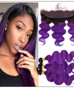 Ombre Hair Color 1B Purple Body Wave 3 Bundles With Closure img-min