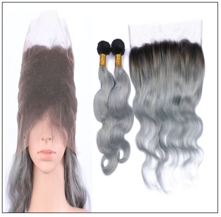Ombre grey bundles with Frontal Closure Two Tone 1b grey bundles Brazilian human hair weaves Lace Frontal 3.-min