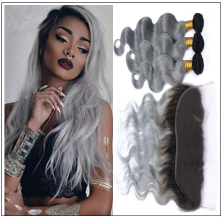 Ombre grey bundles with Frontal Closure Two Tone 1b grey bundles Brazilian human hair weaves Lace Frontal-min