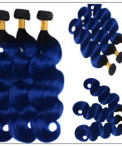 Pre Colored Blue Bundles With Frontal Body Wave Human Hair Bundles 2-min
