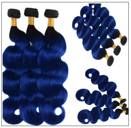 Pre Colored Blue Bundles With Frontal Body Wave Human Hair Bundles 2-min