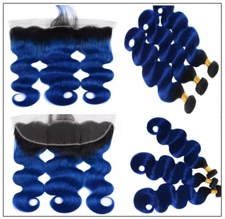 Pre Colored Blue Bundles With Frontal Body Wave Human Hair Bundles 3-min