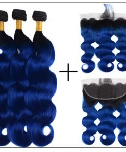 Pre Colored Blue Bundles With Frontal Body Wave Human Hair Bundles 4-min