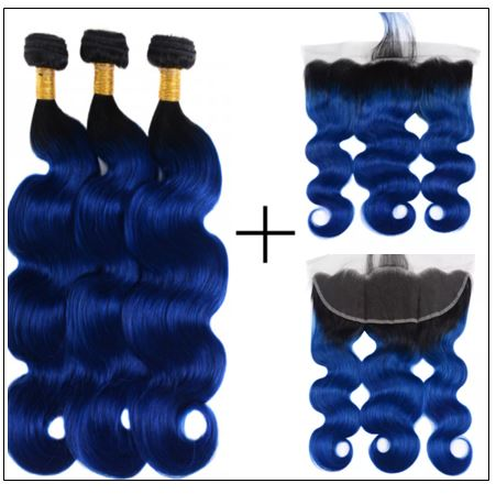 Pre Colored Blue Bundles With Frontal Body Wave Human Hair Bundles 4-min