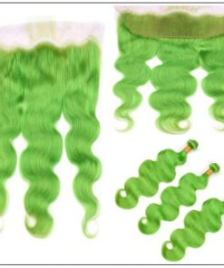 Pure Green Body Wave Hair Bundles with Frontal 2-min