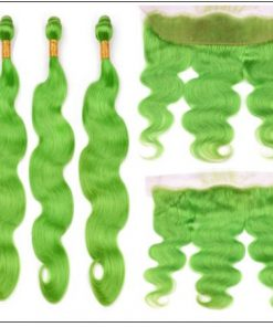 Pure Green Body Wave Hair Bundles with Frontal 3-min