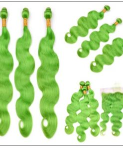Pure Green Body Wave Hair Bundles with Frontal 4-min