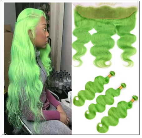 Pure Green Body Wave Hair Bundles with Frontal img-min