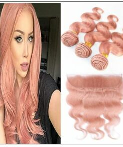 Rose Gold Body Wave With Lace Frontal img-min