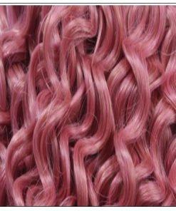 Rose Pink Deep Curly Virgin hair extensions 2-min