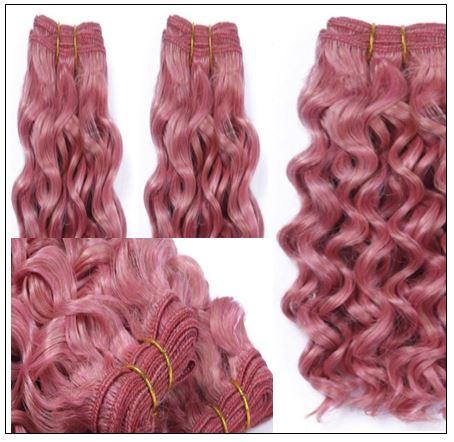 Rose Pink Deep Curly Virgin hair extensions 3-min