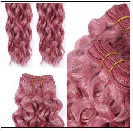Rose Pink Deep Curly Virgin hair extensions 4-min