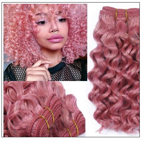 Rose Pink Deep Curly Virgin hair extensions img-min