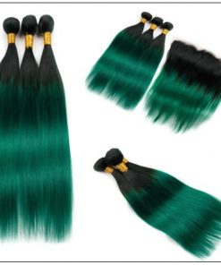 Straight Ombre Pre Colored 2 Tone Green Human Hair Bundles With Frontal 2-min