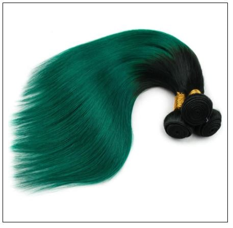 Straight Ombre Pre Colored 2 Tone Green Human Hair Bundles With Frontal 3-min