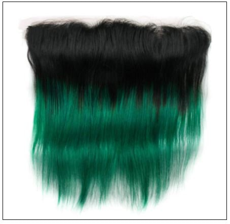 Straight Ombre Pre Colored 2 Tone Green Human Hair Bundles With Frontal 4-min