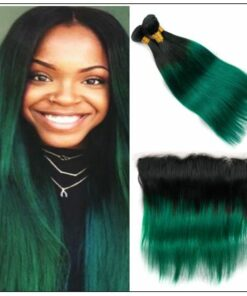 Straight Ombre Pre Colored 2 Tone Green Human Hair Bundles With Frontal img-min