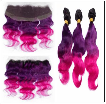 Three Tone #1b Purple Pink Ombre Virgin Human Hair Weaves with Frontal 2-min