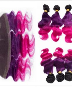 Three Tone #1b Purple Pink Ombre Virgin Human Hair Weaves with Frontal 3-min