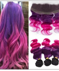 Three Tone #1b Purple Pink Ombre Virgin Human Hair Weaves with Frontal img-min