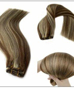 medium length brown hair with blonde highlights (2)-min